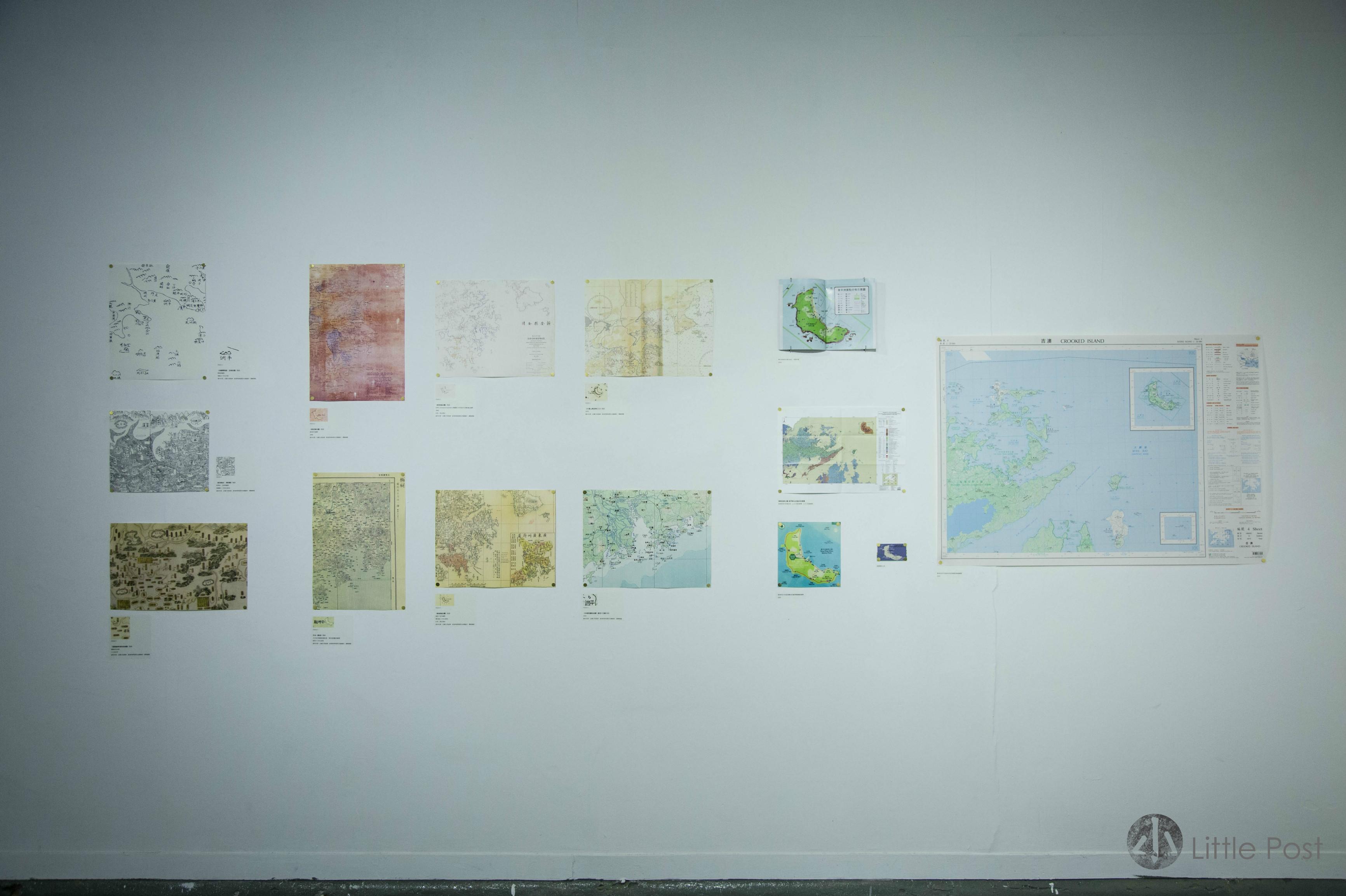 郝立仁在展覽中,呈現不同年代不同單位繪製的東平洲地圖。