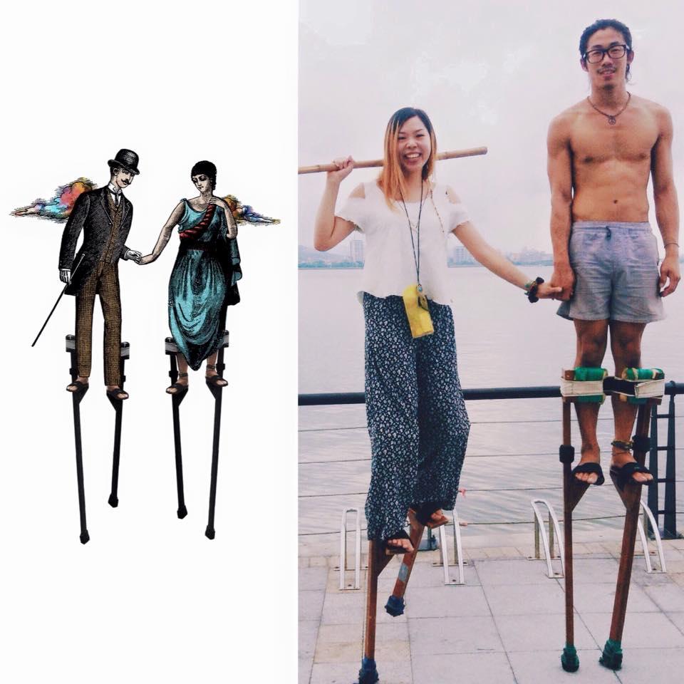 二人踩高蹺扮巨人的回憶。(圖片來源:巨人染Facebook)